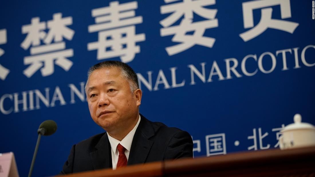 Liu Yuejin, deputy director of the China National Narcotics Control Commission, at a press conference on Monday June 17.